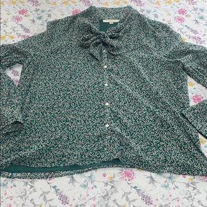 Loft floral button front blouse, size XXL